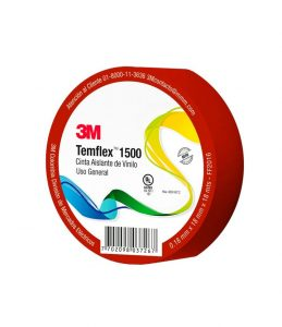 CINTA TEMFLEX 1500 XX-1000-2504-6 18MMX18 ROJA 3M